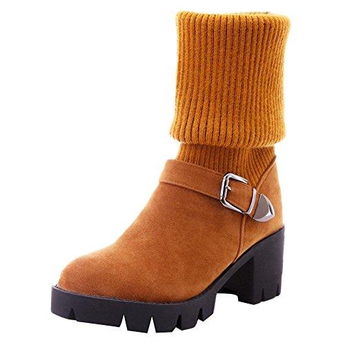 Carolbar Women's Western Casual Buckle Mid Heel Sweater Cuff Long Boots Dark Yellow