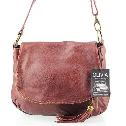327209af705 Olivia - Sac à bandoulière femme Cuir marron cognac fonc .
