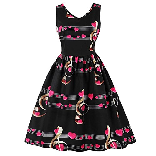 Damen Kleid BURFLY Damen Print Spitzenkleid ärmelloses Party Kleid ...