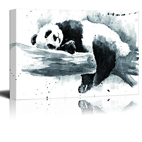 Animal Series Ink Painting of a Panda on a Tree Branch