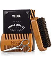 Wooden Beard and Comb Set for Men - Perfect for Beards Head Hair and Mustaches Men's Grooming Kit for Styling, Applying Beard Oils and Balms for Better Hair Care Growth and Impressive Hair Health