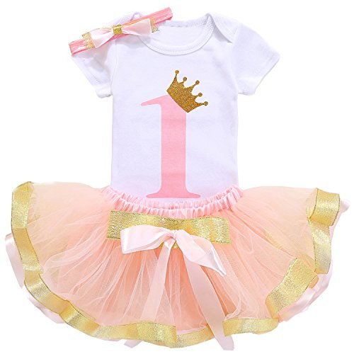 TTYAOVO Girl Newborn 3pcs Baby's 1st Birthday Set/Outfits with Romper + Tutu Dress + Headband Size 1 Years ()
