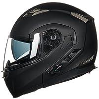 ILM Bluetooth Integrated Modular Flip up Full Face Motorcycle Helmet Sun Shield Mp3 Intercom (XL, MATTE BLACK) by ILM