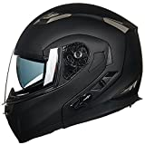 ILM Bluetooth Integrated Modular Flip up Full Face Motorcycle Helmet Sun Shield Mp3 Intercom (M, MATTE BLACK)