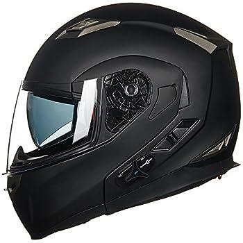 ILM Bluetooth Integrated Modular Flip up Full Face Motorcycle Helmet Sun Shield Mp3 Intercom (L, MATTE BLACK)