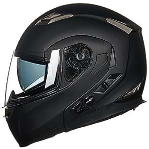 6222c62c405bf ILM Bluetooth Integrated Modular Flip up Full Face Motorcycle Helmet Sun  Shield Mp3 Intercom (XL, Matte Black)