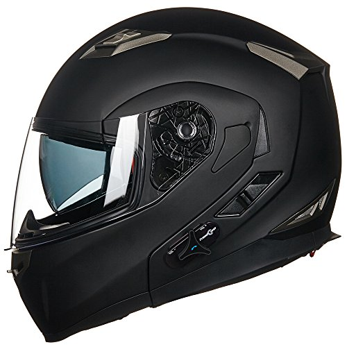 ILM Bluetooth Integrated Modular Flip up Full Face Motorcycle Helmet Sun Shield Mp3 Intercom (L, MATTE BLACK) ()