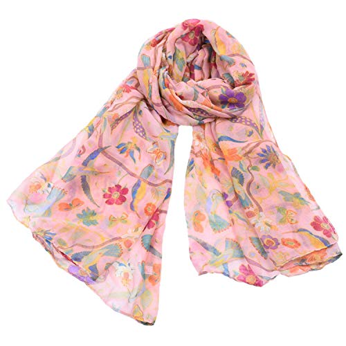 Woogwin Women's Scarves Lady Light Soft Fashion Floral Brids Print Scarf Wrap Shawl (One Size, BirdPink)