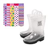 MUK LUKS Girl's Clear Molly Rainboots with 5-Pk Socks Fashion Boot, Pattern, XL (13-1)
