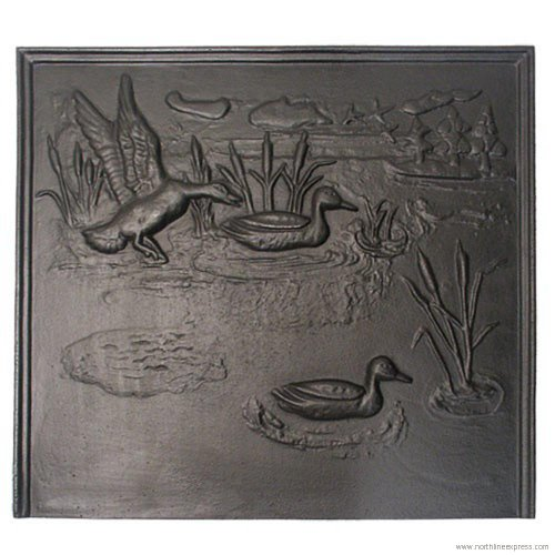 Black Cast Iron Duck Fireback - 22 x 24 inch by Woodland Direct Woodland Direct