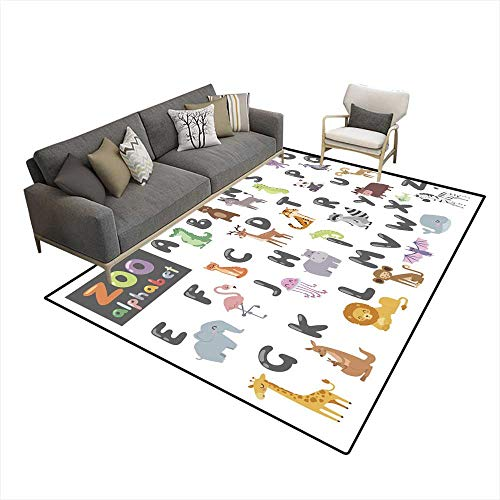 Kids Carpet Playmat Rug Cute Zoo Alphabet with Cartoon Animals isolateon White backgrounanfunny Letters Wildlife Learn Typography Cute Language