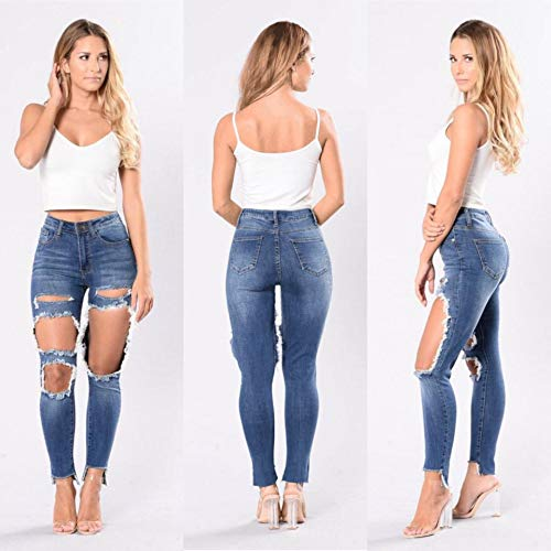 de El Viejo Imagen Elásticos Agujeros De Altos Ajustados Color DAMENGXIANG Lavado La Jeans Pantalones para Rodillas Mujer Las zZUwRwWqO