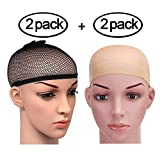 PrettyDate 4 Pack Elastic Wig Caps, Nylon Neutral Nude Beige and Open End Black Mesh Net Wig Cap