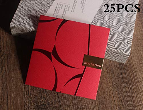 (Tennove Red Invitation Cards with Blank Inner Sheets and Envelopes for Wedding Invitations, Bridal Shower, Engagement, Birthday, Baby Shower (25PCS Invitations, A))