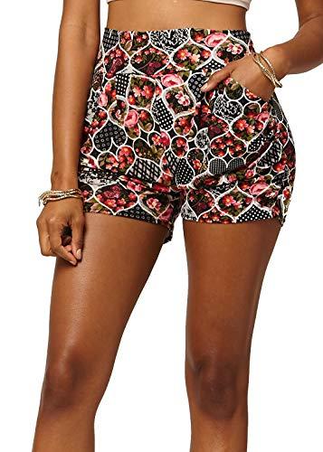 Premium Ultra Soft Harem High Waisted Shorts for Women with Pockets - Flower Shop - Small/Medium (0-10) - ()