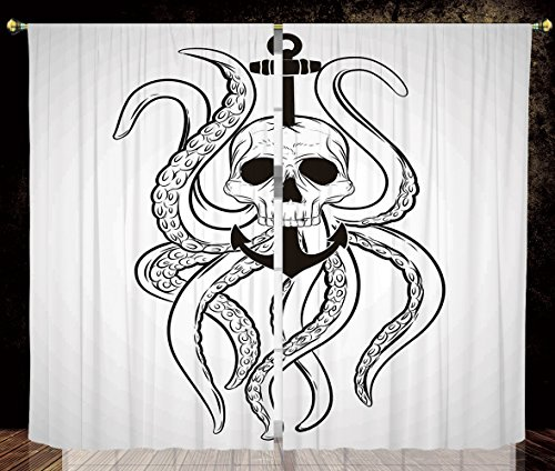 2 Panel Set Thermal Insulated Blackout Window Curtain,Nautical Decor Skull Octopus and Anchor Pirate Ocean Classic Tattoo Style Artwork Illustration Decorative ,for Bedroom Living Room Dorm Kitchen Ca