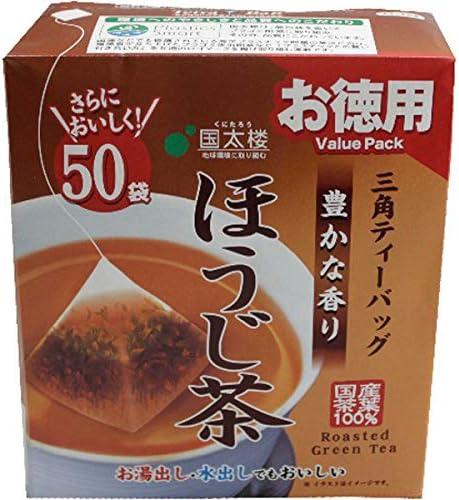 国太楼 50Pお徳用豊かな香りほうじ茶三角ティーバッグ 2g×50p×6個入り (1ケース)