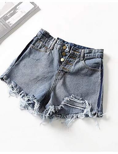 YFLTZ Mujeres Color de Pantalones Las Vaqueros Delgados Blue sólido BXOwvqBrYg