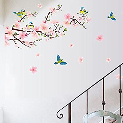 Xiting Huge Fashion Pink Romantic Peach Blossom Flower Vine Birds Wall Corner Decal Wall Stickers Murals Wallpaper for Kids Girls Bedroom Living Room TV Background Wall Corner Decorations
