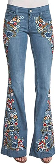 charmsamx Flower Embroidered Jeans for Women Juniors, Low Rise Boho Style Bell Bottom Jeans Stretch Pull-On Skinny Flared Den