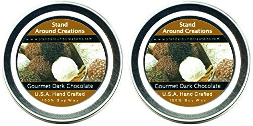 Premium 100% Soy Candles- Set of 2-2 oz Tins- Gourmet Dark Chocolate- A rich, slightly bitter aroma of gourmet dark chocolate. ()