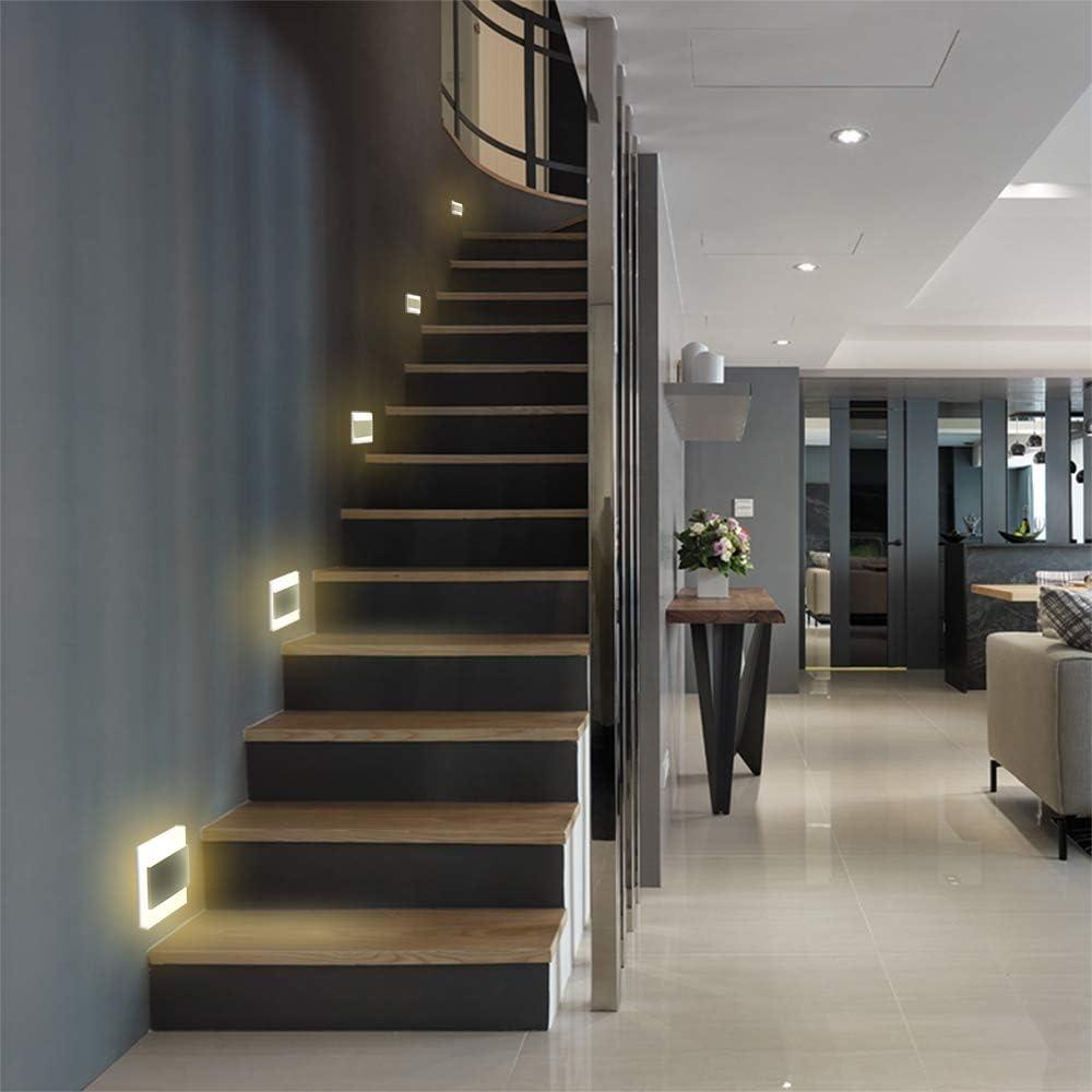 Iluminación LED para escaleras, lámpara de pared, foco empotrable de pared, escalera, iluminación escalonada: Amazon.es: Iluminación