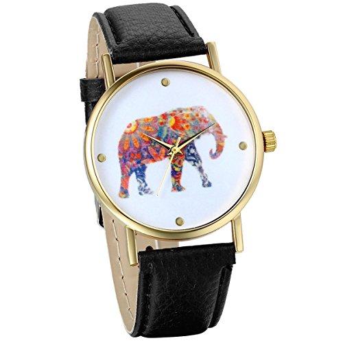 JewelryWe Women's Colorful Elephant Print Gold Tone Dial Leather Quartz Ladies Girls Watch Black