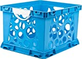 Storex Large Storage and Filing Crate with Comfort Handles, 17.25 x 14.25 x 10.5 Inches, Blue/White, Case of 3 (STX61767U03C) by Storex