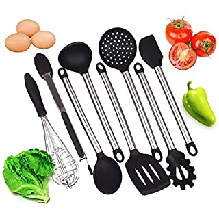 Kitchen Stuff & Beyond Kitchen Utensil Set - 8 Utensils - Silicone with Stainless Steel Handle- includes Tongs, Spoon, Pasta Server, Ladle, Strainer, Metal Whisk and 2 type Spatulas