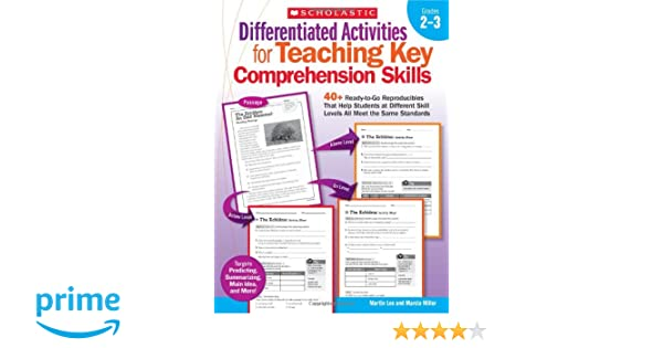 differentiated activities for teaching key comprehension skills