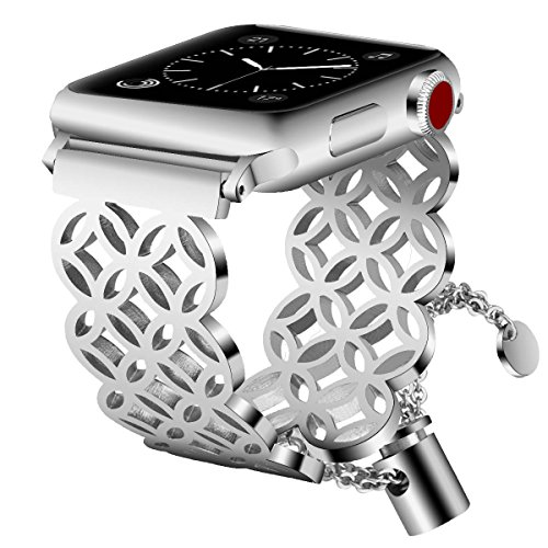 VIGOSS Jewelry Metal Bangle Compatible with Series 4 Apple Watch Band 38mm/40mm Men Women Luxury Cuff Bling Hollow Hoop Bracelet Stainless Steel Strap for iWatch Series 4/3/2/1 Window Grille Silver ()