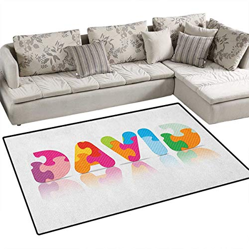 David,Carpet,Ancestral Male Name with Religious Connotations and Colorful Puzzle Style Letters,Rug Kid Carpet,Multicolor Size:48