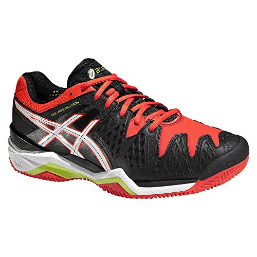 Asics - Gel-Resolution 6 Clay Herren Tennisschuh (schwarz/rot) - EU 42 - US 8,5