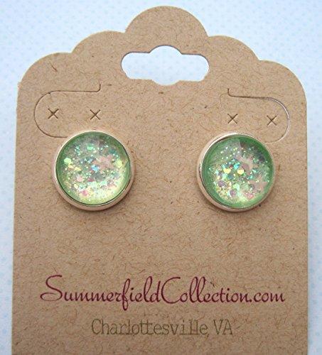 Seaside Mermaid Costumes (Silver-Tone Seafoam Iridescent Glitter Glass Stud Earrings 1/2