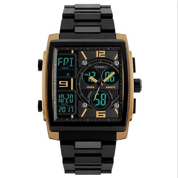 Relojes Moda Inteligente Cuadrado Personalidad Doble Pantalla Electrónica Moda Hombre Funcional, Dorado: Amazon.es: Relojes