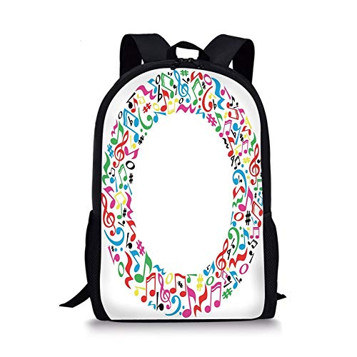 School Bags Letter O,O Character Capitalized with Collection of Multicolored Musical Elements Alphabet Decorative,Multicolor for Boys&Girls Mens Sport Daypack
