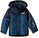 London Fog Boys' Big Midweight Water Resistant Hooded Jacket, Navy, 8