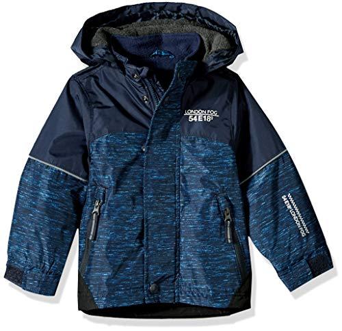 London Fog Boys' Big' Midweight Water Resistant Hooded Jacket, Navy, 10/12 - Midweight Hooded Jacket