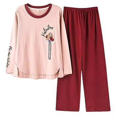 abcb0b4e26d4e Meaeo Pyjama en Coton pour Femmes Joli Vêtement D Intérieur À Manches  Longues Ample Et Confortable Costume  Amazon.fr  Vêtements et accessoires