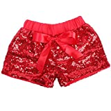 Cilucu Baby Girls Shorts Toddler Sequin Shorts Sparkles on Both Sides Red 5T