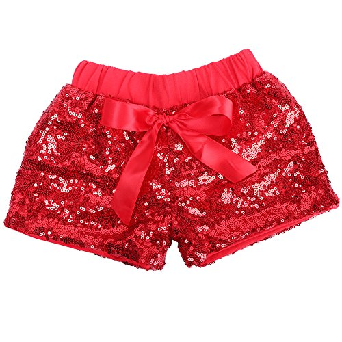 Cilucu Baby Girls Shorts Toddler Sequin Shorts Sparkles on Both Sides Red 2T ()