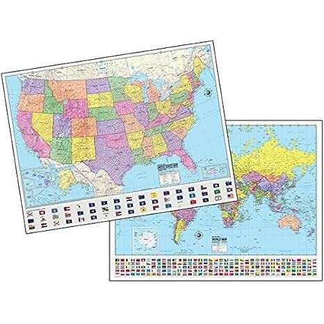 Amazon.com : Advanced US/World Political Laminated Rolled Map ...