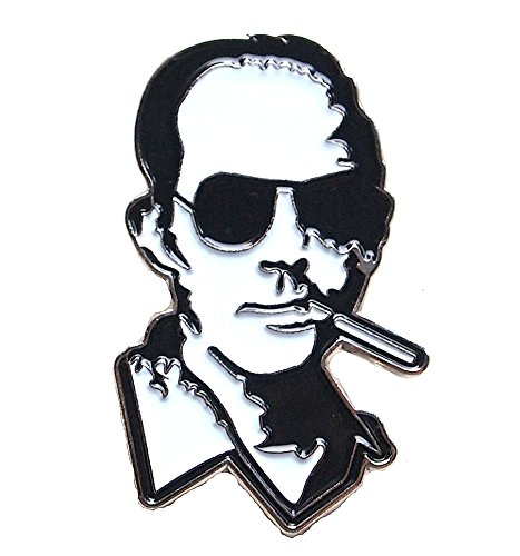 Enamel Lapel Pin Hunter S. Thompson Black and White Smoking Gonzo Double Post Silver Butterfly Clasp Famous Picture ()