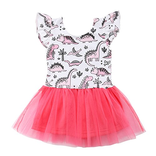 Toddler Baby Girl Animal Flamingo Sleeveless Tutu Tulle Dresses Sundress Outfits (White, 0-6 (Animal Print Silk Dress)