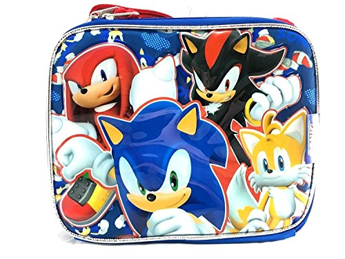 Sega Sonic the Hedgehog Team Tail, Knuckles, Shadow Insulated Blue Lunch Bag