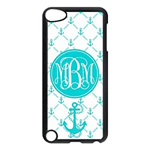 iFUOFF Amazing Bright Blue Anchor Background and bigger Anchor VS Monograms Customized Protective Snap On Fashion Case for iPod touch5 (Black or White 2 Colors)