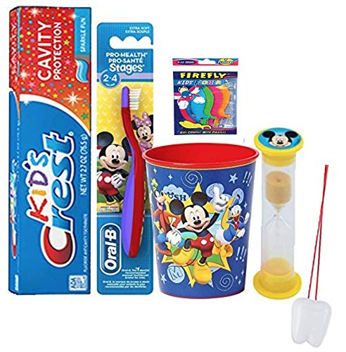 Disney Mickey Mouse Inspired 4pc Bright Smile Oral Hygiene Bundle! Toothbrush, Crest Kids Sparkle Toothpaste, Brushing Timer & Mouthwash Rinse Cup Plus Bonus flossers and Tooth Necklace!