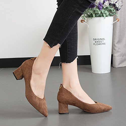 KPHY Damenschuhe Im Frühling Komfortablen Betuchte Betuchte Betuchte British Style Einzelne Schuhe Um Wildleder Hart und Spitz Füße Damenschuhe. 0071eb