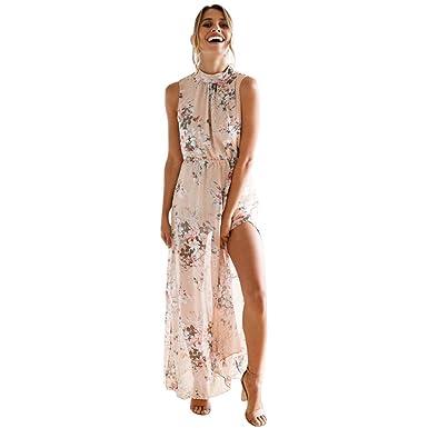 1171c8f450d LONUPAZZ Maxi Robe Mousseline Imprimée Fleurs Longue Femme sans Manches  Bohème Plage (Asian S