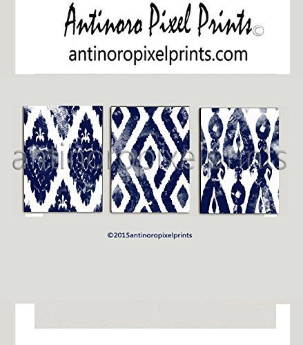 Wall Art Watercolor Ikat Dark Navy Blue White Wall Art Picture - Set includes (3) 16x20 Prints Unframed by Antinoro Pixel Prints